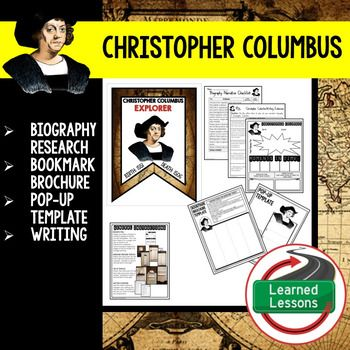 Christopher Columbus Biography Research, Bookmark Brochure, Pop-Up, Writing (History) This activity provides for a variety of differentiated activities to engage your secondary students in biography research.  Student will have the opportunity to choose between a biography entry, a biography bookmark brochure, or a biography pop-up for interactive notebook.