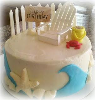 beach birthday party cake