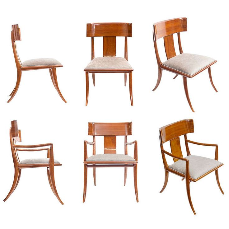 Set of Six rare Klismos Dining Chairs designed in 1948 by T.H Robsjohn-Gibbings for Widdicomb. Two Arm Chairs and four Side Chairs.
