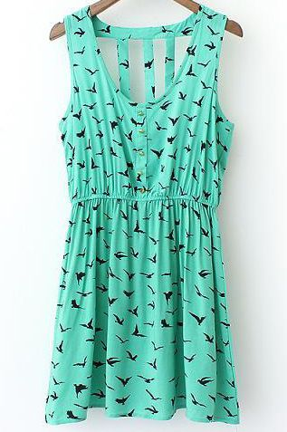 Birds Print Cutout Back Dress 15.00