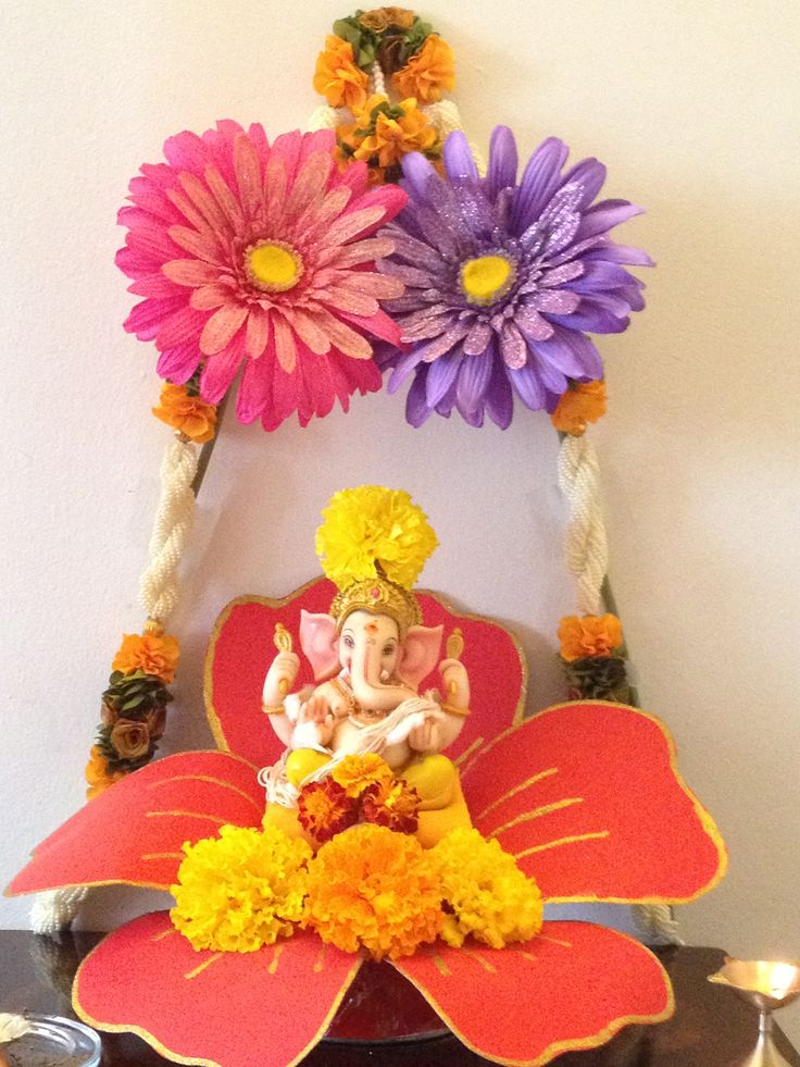 49 best pooja decoration images on pinterest for Artificial flower decoration for ganpati