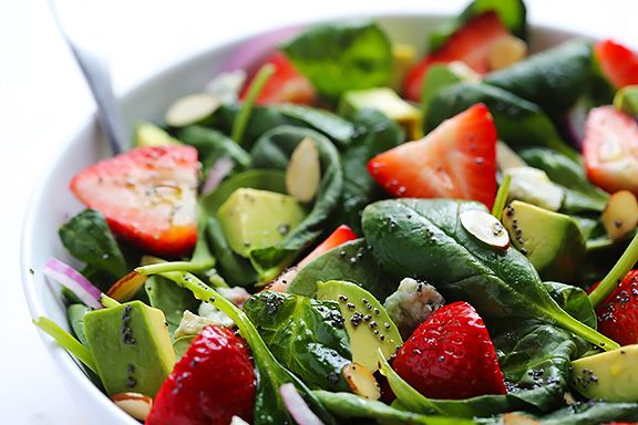 Avocado Strawberry Spinach Salad with Poppy Seed Dressing  6 cups fresh baby spinach 1 pint sliced strawberries 1 avocado, diced 1/4 cup sliced almonds, toasted half a small red onion, thinly sliced  Poppyseed Dressing: 1/2 cup avocado oil (or any oil) 3 tbsp apple cider vinegar 2 Tbsp. honey 1 Tbsp. poppy seeds pinch of ground dry mustard (optional) salt and pepper