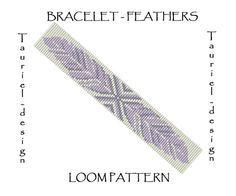 Feathers Loom pattern loom bracelet by Tauriel on Etsy