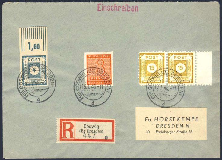 German Russian Occupation, SBZ 1945, Ostsachsen, Postmeisterzähnung, Coswig I, 15 Pfg., L10, im waager. Randpaar, mit Beifrankatur Westsachsen, auf portogerechtem R-Brief aus der Kempe Korrespondenz (Mi.-Nr.47DI/Mi.EUR 90). Price Estimate (8/2016): 25 EUR.