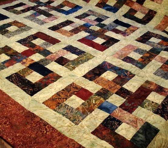 """""""Waste Knot"""" quilt.   The fabric is from a Bali Pop called """"Butterscotch""""etsy.com: Pop Call, Batik Quilts Patterns, Wasting Knot Quilts Patterns, Bali Pop, Jelly Rolls, Call Butterscotch Etsy Com, Celtic Quilts Patterns, Quilts Ideas, Celtic Knot Quilts Patterns"""
