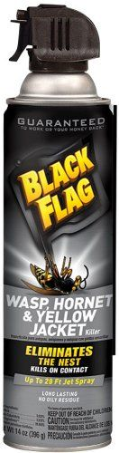 Black Flag Wasp and Hornet Aerosol Spray, 14-Ounce   Black Flag Wasp and Hornet Aerosol Spray, 14-Ounce Black flag wasp and hornet killer 14 oz. aerosol spray kills on contact and eliminates the nest. shoots up to a 29-foot spray to reach the nests.  http://www.thelawngarden.com/black-flag-wasp-and-hornet-aerosol-spray-14-ounce/