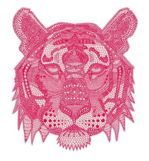 tiger face detailed illustration