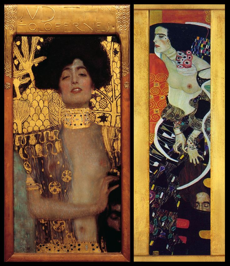 Gustav Klimt's Judith and the Head of Holofernes-- A biblical tale of bravery and liberation taken to a place of lust and empowerment. Klimt's version is, still today, as controversial as irresistible; revealing sin in sanctity and pleasure in darkness. An ingenious provocation: Powerful, lascivious, unapologetic.