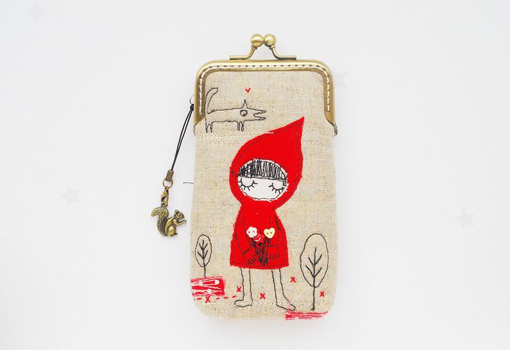 iPhone Case -- Little Red Riding Hood Free Motion Embroidery( iPhone 6s, iPhone 6s Plus, Samsung Galaxy S6 etc. ) by lazydoll on Etsy https://www.etsy.com/listing/164272807/iphone-case-little-red-riding-hood-free