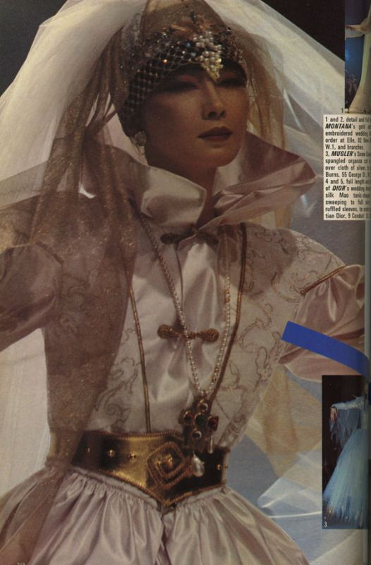 Claude Montana's bride, F/W 1981. Photographed by Michel Arnaud for Vogue UK, September 1981.