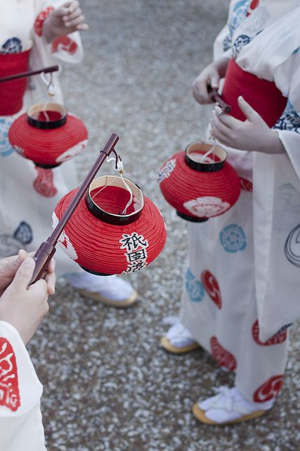 Paper lanterns for Gion Festival in Kyoto, Japan