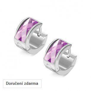 Kruhové náušnice s fialovými krystaly