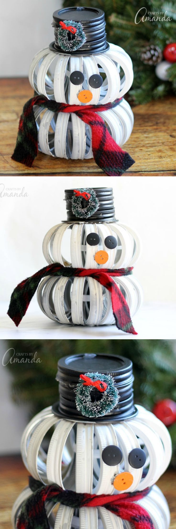This mason jar lid snowman is an adorable holiday craft! Part rustic, part modern, it's different from any Christmas decor you can buy in a store.