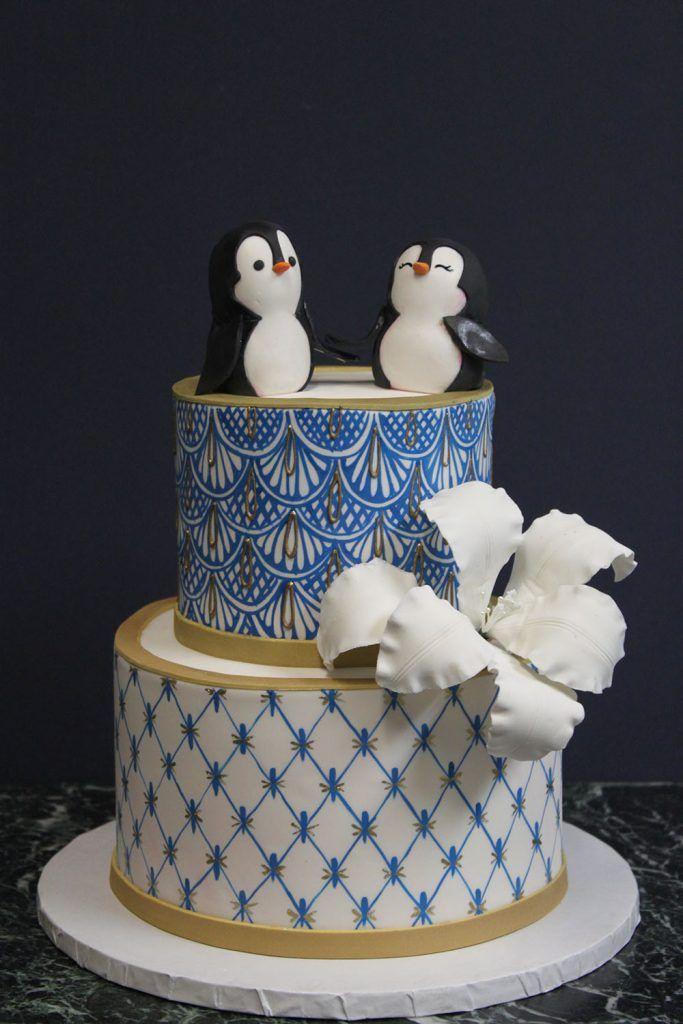 Penguins China Print Wedding Cake Cake Xmas Cake Geode Cake