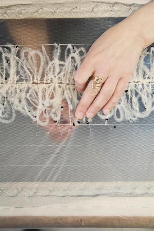 tambour beading technique to fix feathers