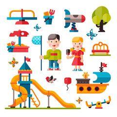 Children playground in flat style