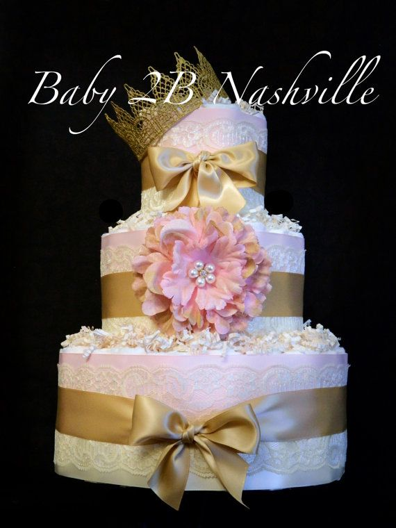 Check out Diaper Cake for Girls Deluxe Pink and Gold Baby Shower Diaper Cake with Handpainted Flower Clip and Lace Crown on baby2bnashville