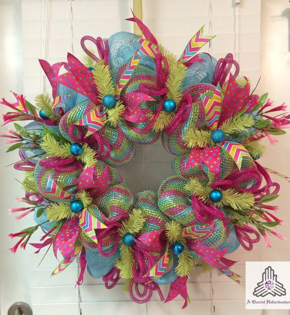 Spring Aqua/Pink/Green Deco Mesh Wreath