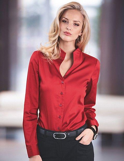 1776531cecb3ca Elegante Bluse mit Stehkragen, rot, rot | MADELEINE Mode | Absolute ...