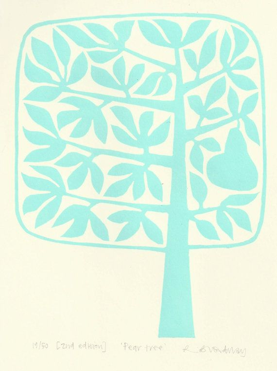 Pear tree lino print  pale green/blue by ruthbroadway on Etsy