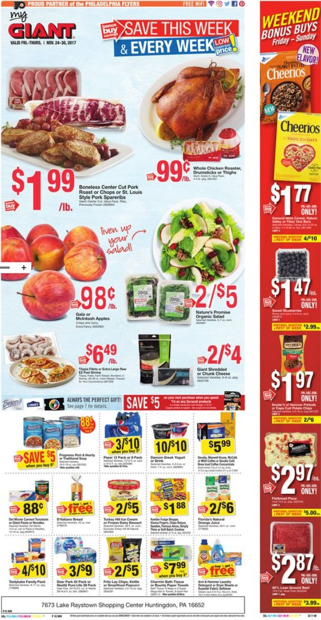 Giant Food Stores Weekly Ad Nov 24 - 30, 2017