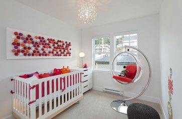 Introduce rich colour with accessories Bring rich, deep tones into the nursery through fabrics and accessories. This white room looks clean and modern, yet full of colour. Keep deep shades to no more than three unless you are deliberately going for a multicoloured effect.