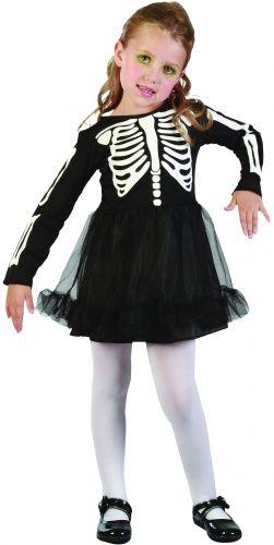 """Happy Halloween ! Questo costume da scheletro per bambina consiste in un vestito nero a maniche lunghe con la stampa di uno scheletro floccata sul busto e sule braccia. Questo travestimento da scheletro """"frufru"""" sarà perfetto per la festa di halloween della tua bambina!"""