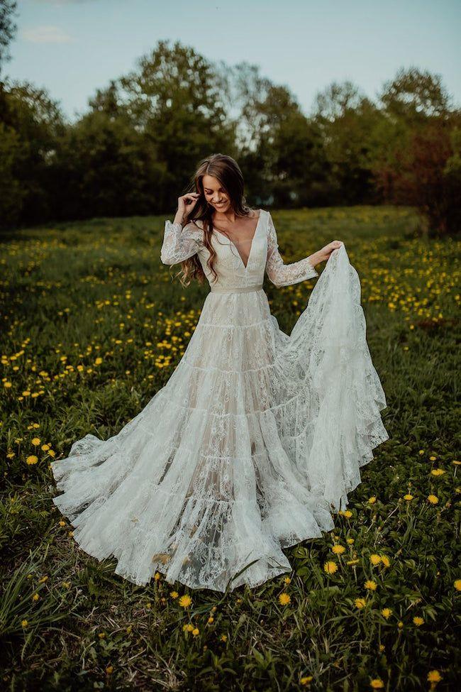 Wedding Dresses For A Boho Bride Boho Wedding Dress Lace Blush Wedding Dress Lace Wedding Dresses Lace