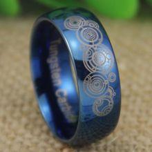 Frete grátis eua reino unido canadá rússia brasil Hot vendas 8 MM Doctor Who senhor do tempo azul brilhante dos homens Dome moda tungstênio anel de casamento(China (Mainland))
