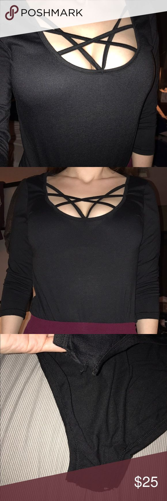 Black bodysuit Shirt Cut at crotch because it was too short for me but I got another similar one and never wore this one. Can still be tucked into pants or sewn back together if you are like 5'2 and under. Tops Tees - Long Sleeve