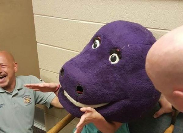 Alabama Girl Gets Head Stuck In Barney Costume In Prank Gone Wrong