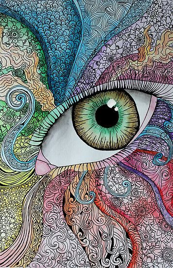 I don't like the eye in the middle but i like all the doodles around it. It would be something I would be able to do myself.