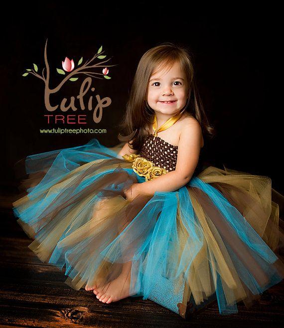 Blue/ Brown Tutu Dress Tutu Baby Tutu-Tutu Dress por houseoftutus
