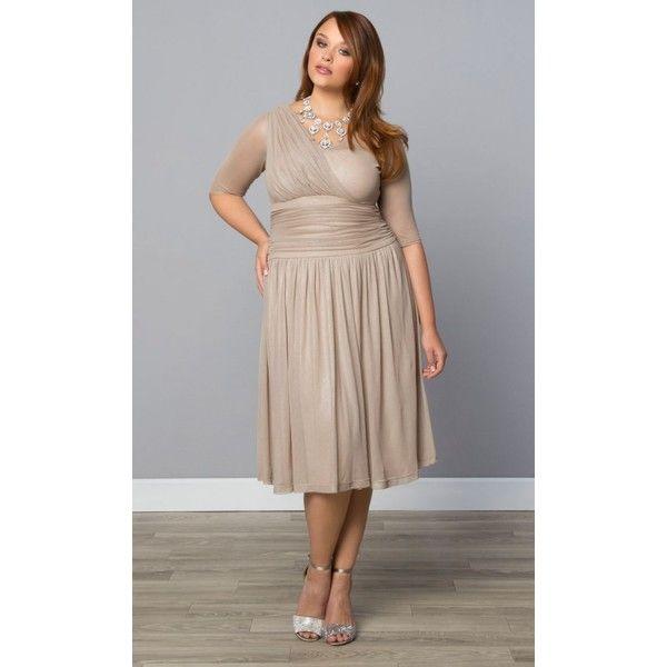 Kiyonna Limited Edition Glimmer Cocktail Dress ($118) ❤ liked on Polyvore featuring plus size women's fashion, plus size clothing, plus size dresses, plus size, knee length cocktail dresses, sparkly cocktail dresses, a line cocktail dress, evening cocktail dresses and holiday cocktail dresses