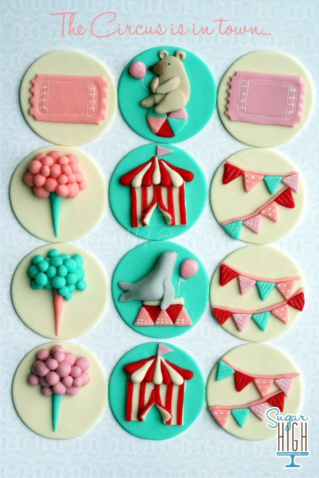 Adorable circus themed cupcake toppers ♥