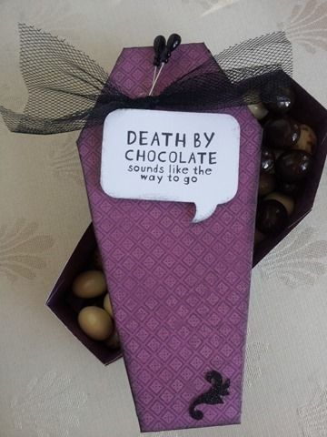 Halloween coffin loaded with chocolate.  AKA Death by chocolate sounds like the way to go!