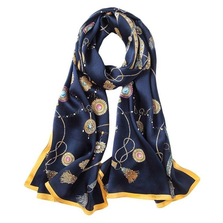 100% Silk Satin Women Scarf Neckerchief Shawl Large Wrap Blue Yellow S245-005