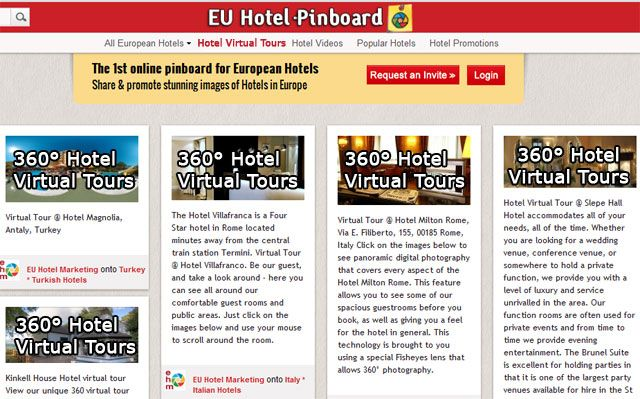 New Feature on EU Hotel Pinboard! Hotel Virtual Tours can be Pinned to increase the visibility and ranking of your hotel pages in search engines.