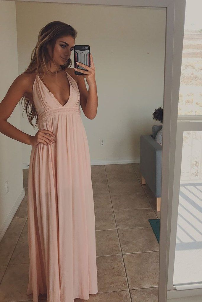 The perfect candy peach maxi dress features a tie halter neck and lining Material is Rayon Model Ali is 5'9 wearing a small Shop the look Bust Length Small 12 5