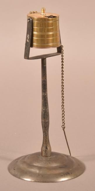 Peter Derr Brass, Copper and Iron Kettle Lamp. : Lot 111