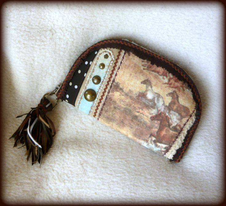 Handmade by Judy Majoros - Horse wallet-clutch with leather fringe. Recycled wallet-bag.