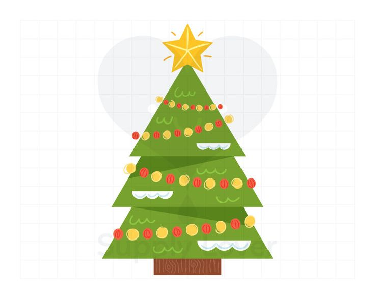 CHRISTMAS TREE Clip-Art Commercial Use, Green, Tree Topper, Christmas Star, Christmas Decoration, Baubles - A0002