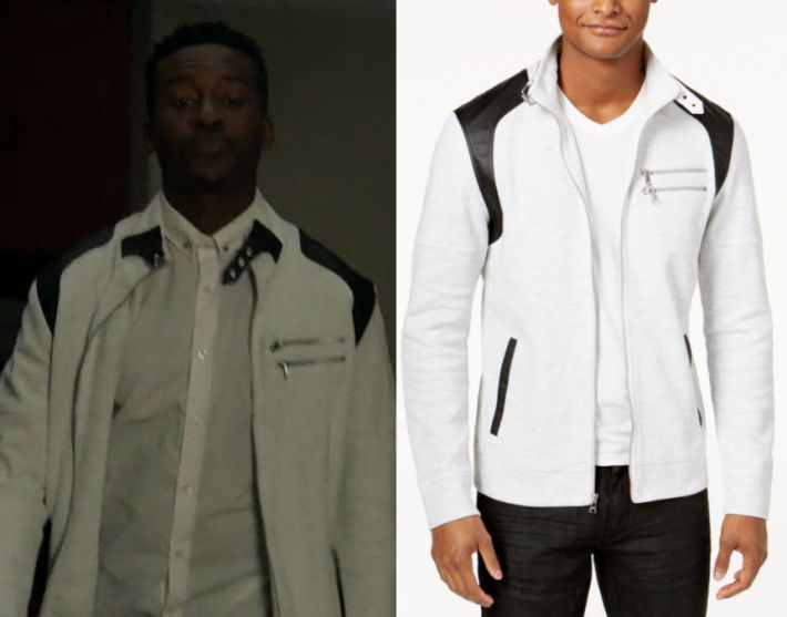 """1x06 by Kirsty0 Comments Courtney Rose (Brandon Micheal Hall) wears this white and black zip front zip jacket in this episode of The Mayor, """"Will You Accept This Rose?"""". It is the INC International Concepts Men's Fire Knit Moto Jacket. Buy it HERE for .99"""
