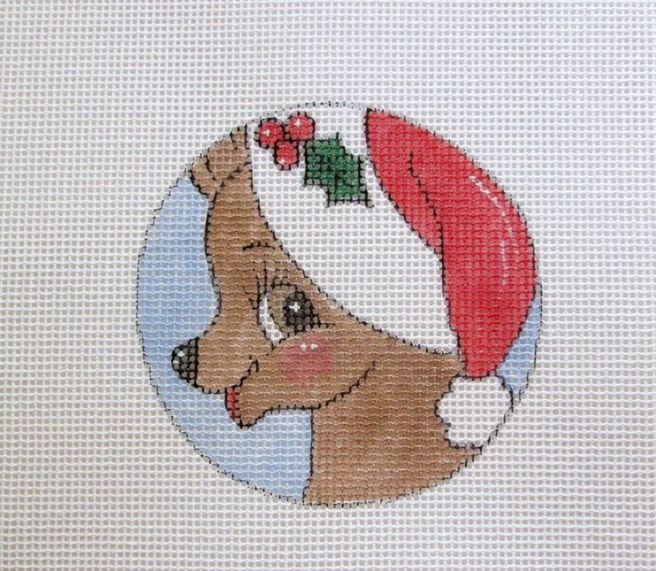 Darling Baby Reindeer w/Santa Hat Handpainted Needlepoint Canvas Ornament #Unbranded