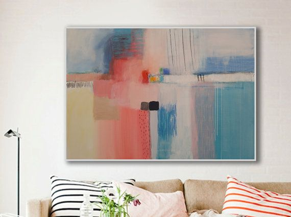 7 best modern interiors abstract art wall art images on contemporary wall artabstract painting on canvas light blue pink purple turquoise white horizontal colorful modern artwork sciox Images