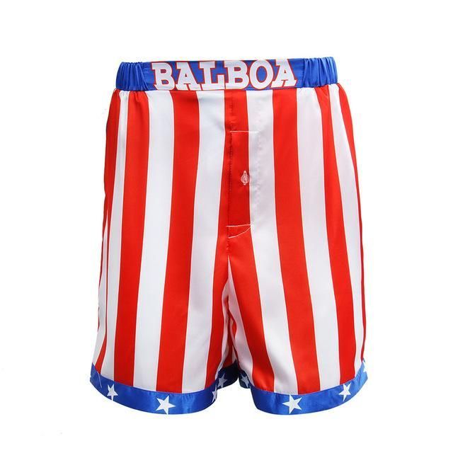 Takerlama Rocky Balboa Apollo Movie Boxing American Flag Cosplay Shorts Robe Boxing Costume Robe And Sho American Flag Shorts Satin Shorts Rocky Balboa Costume