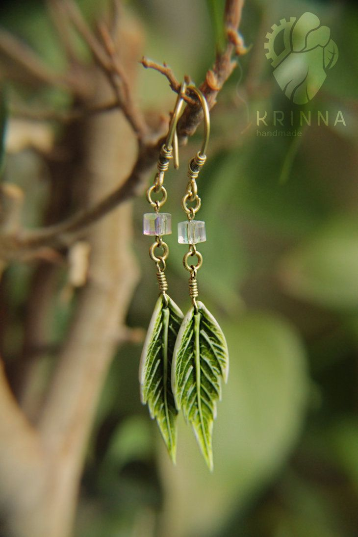 Polymer clay leaf earrings by Krinna on DeviantArt