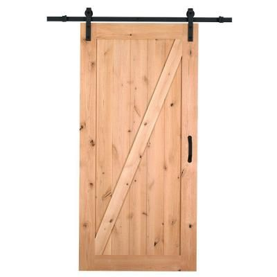 Masonite 42 in. x 84 in. Z-Bar Knotty Alder Interior Barn Door Slab with Sliding Door Hardware Kit-47613 - The Home Depot