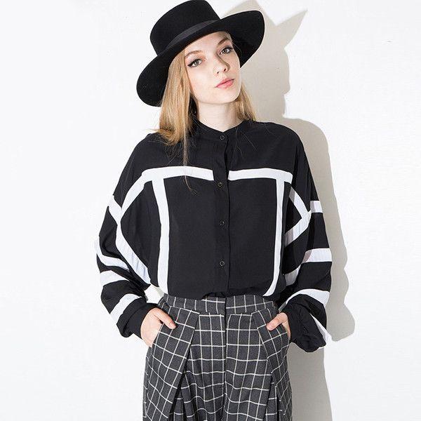 2016 New Women Autumn Blouse Black Long Shirt Blusa Woman O-Neck Long Sleeve Button Up Striped European Casual Shirt Tops 1606
