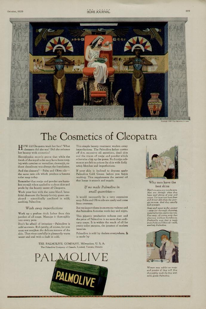 1920 PALMOLIVE SOAP AD / THE COSMETICS OF CLEOPATRA -eBay